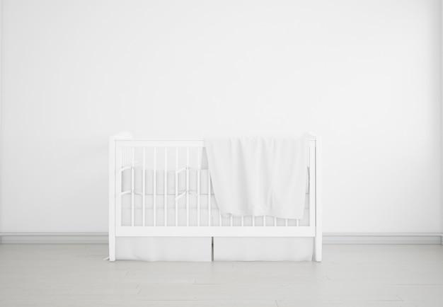 Realistische witte baby slaapkamer met een wieg