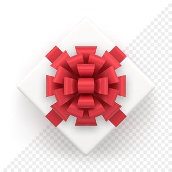 Realistische witte geschenkdoos met rode strik. bovenaanzicht vierkant cadeau voor kerst- en nieuwjaarsdecoratie. decoratief feestelijk object geïsoleerd op wit voor vakantiebanner of wenskaart.