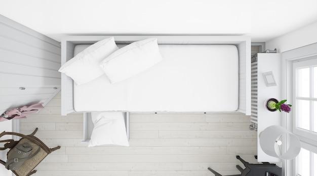 Realistische witte slaapkamer met meubels op bovenaanzicht