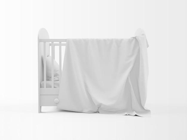 Realistische witte wieg op wit wordt geïsoleerd