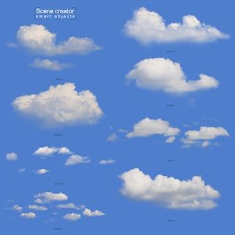 Realistische witte wolkenset