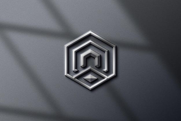 Realistische zilveren metalen logo mockup
