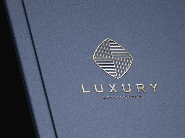 Realistische zilveren reliëf luxe logo mockup