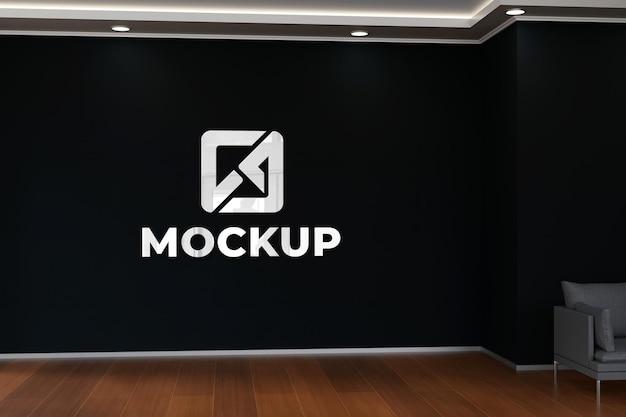 Realistische zwarte muur 3d indoor mockup