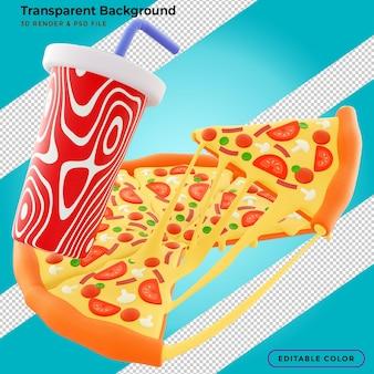 Rebanada de pizza con queso fibroso y salsa salpicando en la ilustración 3d