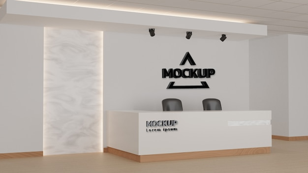 Recepción en una oficina con elementos de pared de mármol claro. representación 3d, maqueta.