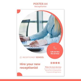 Receptioniste concept poster sjabloon