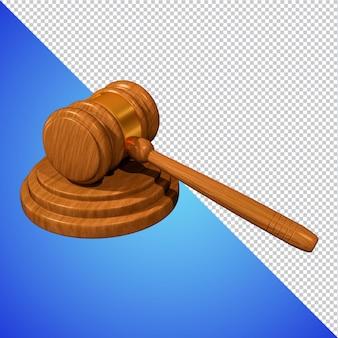 Rechters hamer 3d-rendering geïsoleerd
