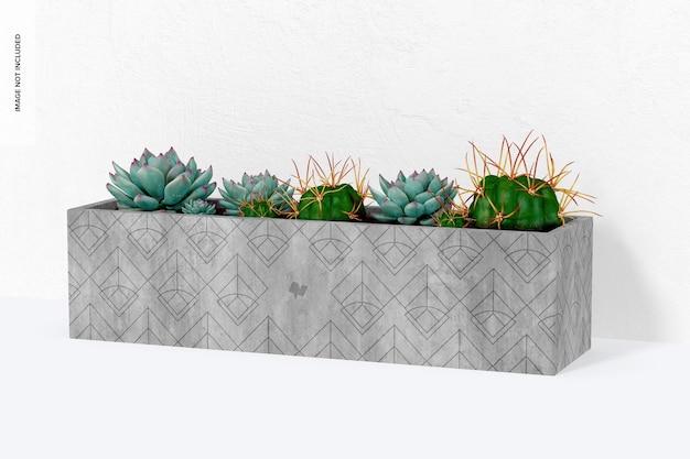 Rechthoekig tafelmodel van cementplanter, vooraanzicht
