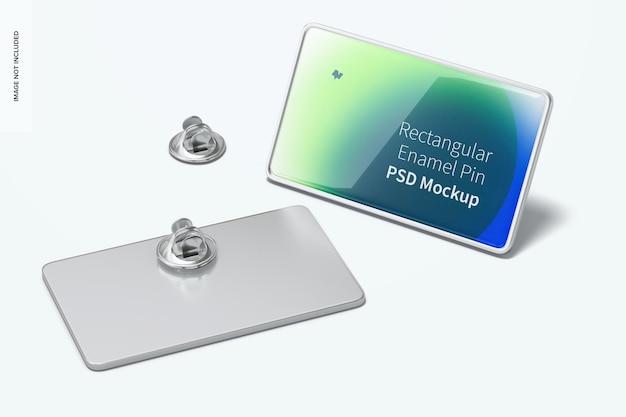 Rechthoekige emaille pin mockup, voor- en achterkant