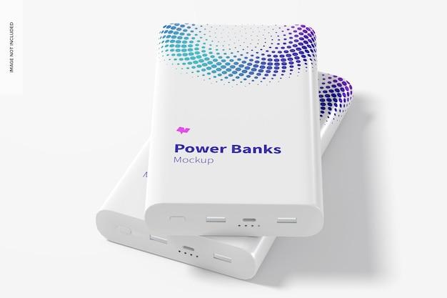 Rechthoekige power banks mockup, vooraanzicht