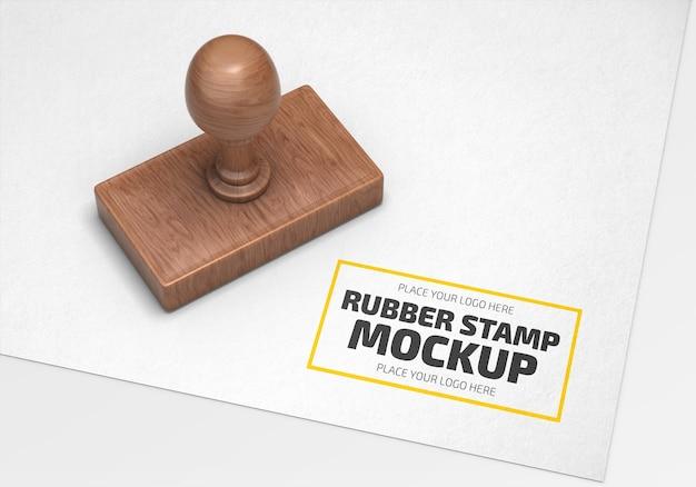 Rechthoekige rubberen stempellogo mockup