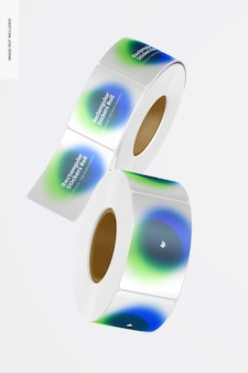 Rechthoekige stickers rolls mockup, floating