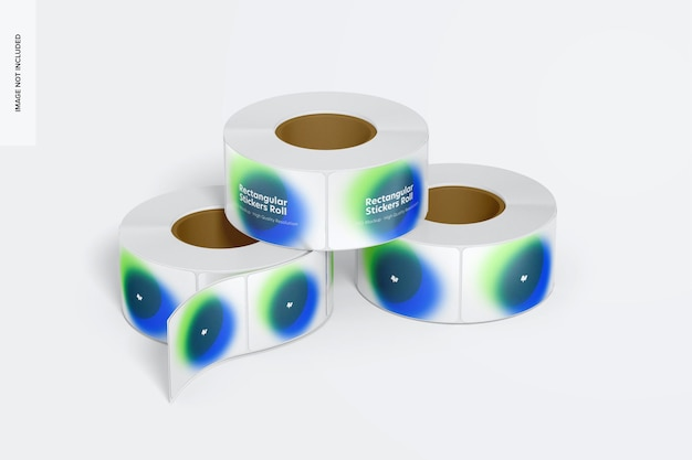 Rechthoekige stickers rolls mockup Premium Psd