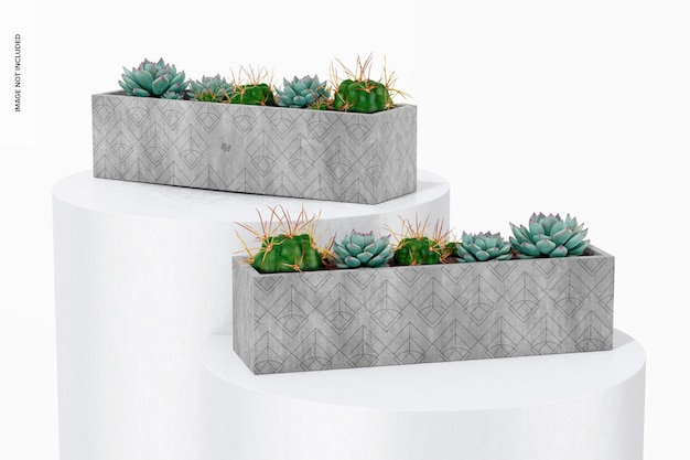 Rechthoekige tafel cement planters mockup, vooraanzicht
