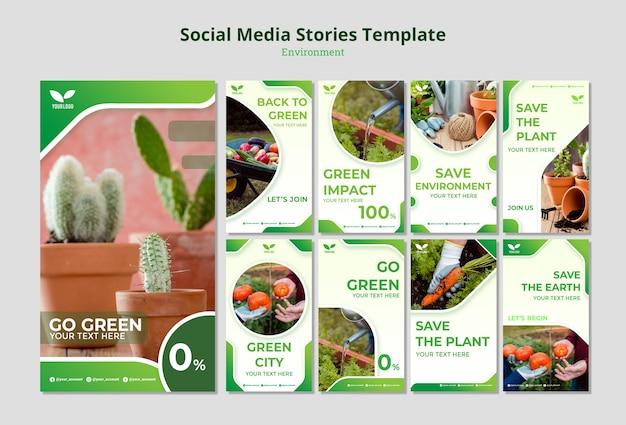 Reciclaje ambiental y reutilización de historias de redes sociales