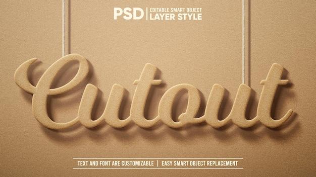 Recorte de cartón con cuerdas estilo de capa editable objeto inteligente efecto de texto