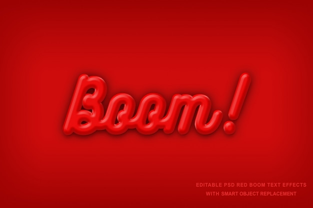 Red boom text effect