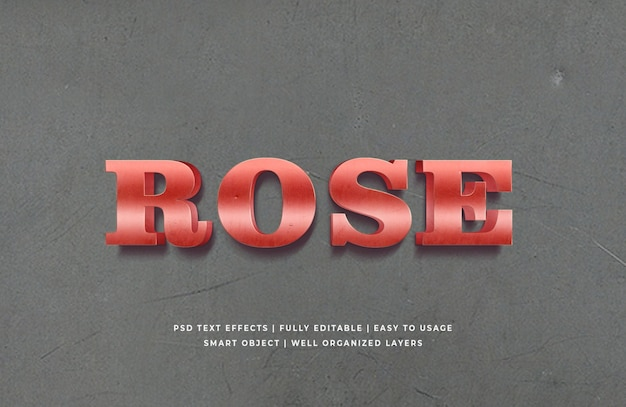 Red rose metallic 3d text style effect premium psd