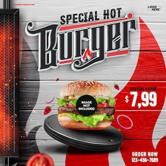Las redes sociales alimentan una hamburguesa caliente especial para la composición.