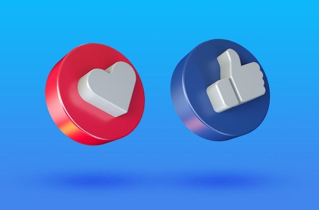 Las redes sociales aman y les gusta el icono de botón 3d minimalista