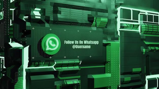 Las redes sociales de la maqueta de whatsapp nos siguen con el fondo de la pared de la tecnología de neón del futuro 3d