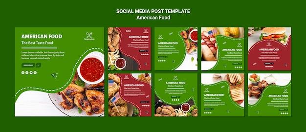 Redes sociales post comida americana