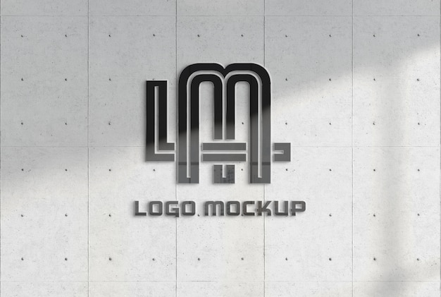 Reflecterend logo op kantoorbetonmuurmodel