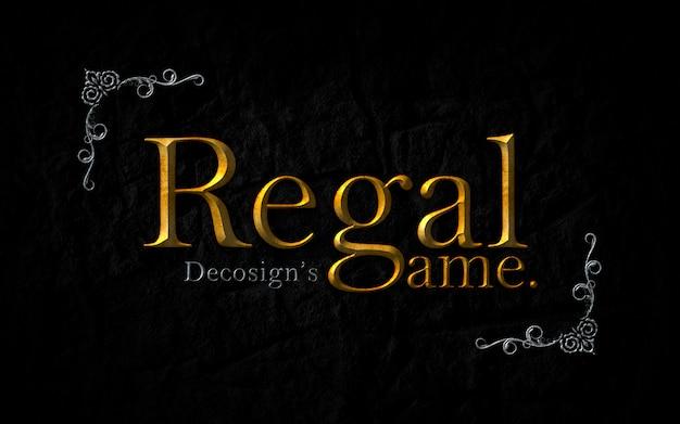 Regal game text effect mockup Premium Psd