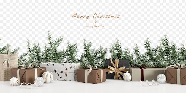 Regalos y adornos navideños en renderizado 3d