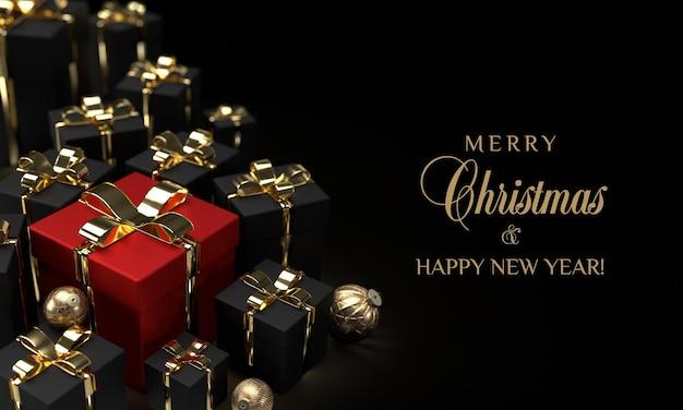 Regalos de navidad negros y rojos sobre fondo negro de lujo