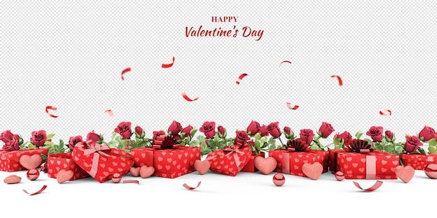Regalos de san valentín y maqueta de rosas en representación 3d