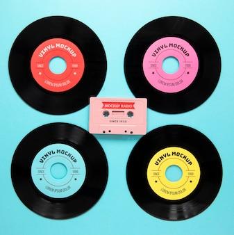 Regeling met vinylplaten mock-up