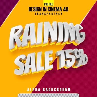 Regende verkoop 15 gouden 3d tekst