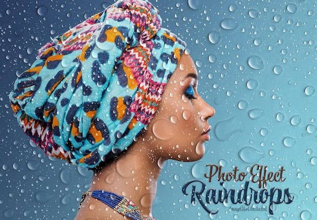 Regendruppels foto-effect mockup