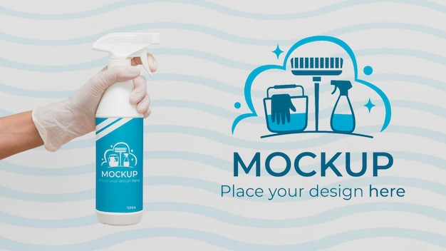 Reinigingsproduct vooraanzicht met mock-up verpakking
