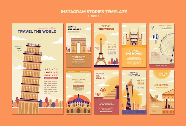 Reis de wereld rond met instagramverhalencollectie met oriëntatiepunten
