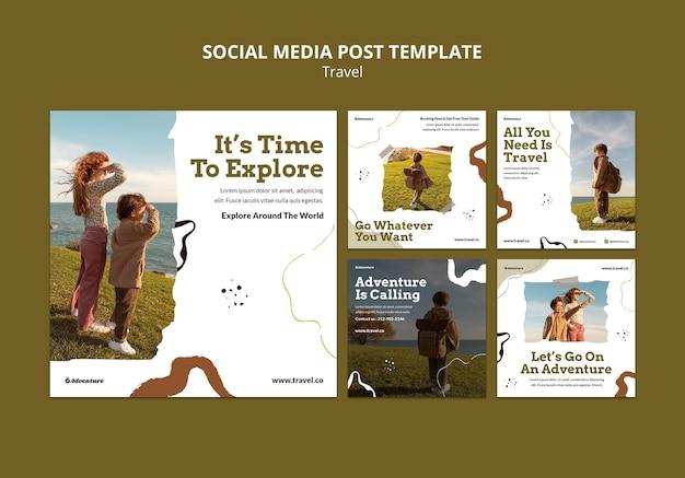 Reis de wereld rond social media post