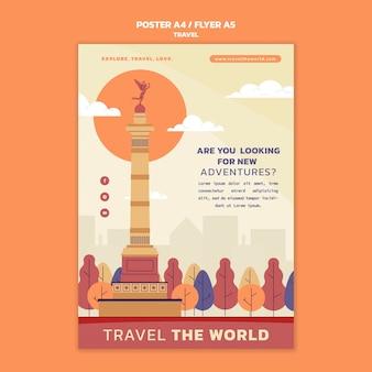 Reis de wereld rond verticale postersjabloon