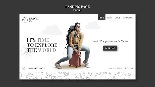 Reis de wereld websjabloon Premium Psd