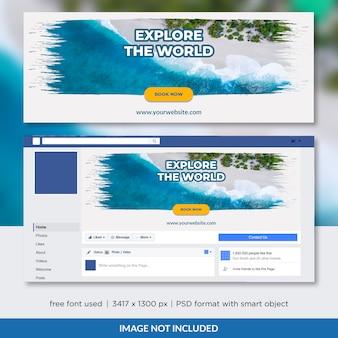 Reisbureau facebook tijdlijn cover sjabloonontwerp