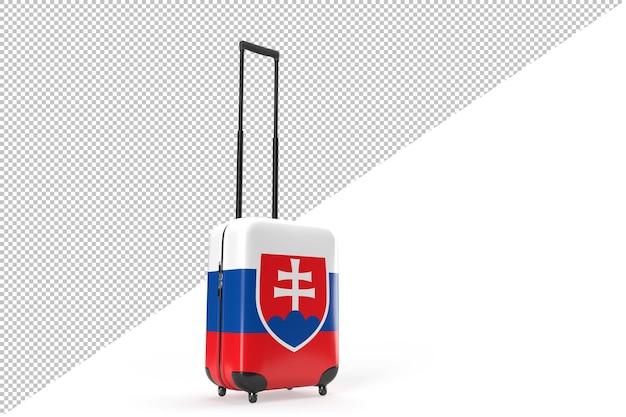 Reiskoffer met de vlag van slowakije. reisconcept. 3d-rendering