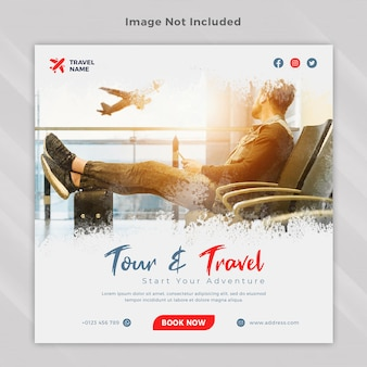 Reisreizen instagram post vierkante bannersjabloon