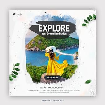Reisvakantie vakantie instagram-post of sjabloon voor spandoek voor sociale media