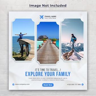 Reisvakantie vakantie sociale media post en webbanner