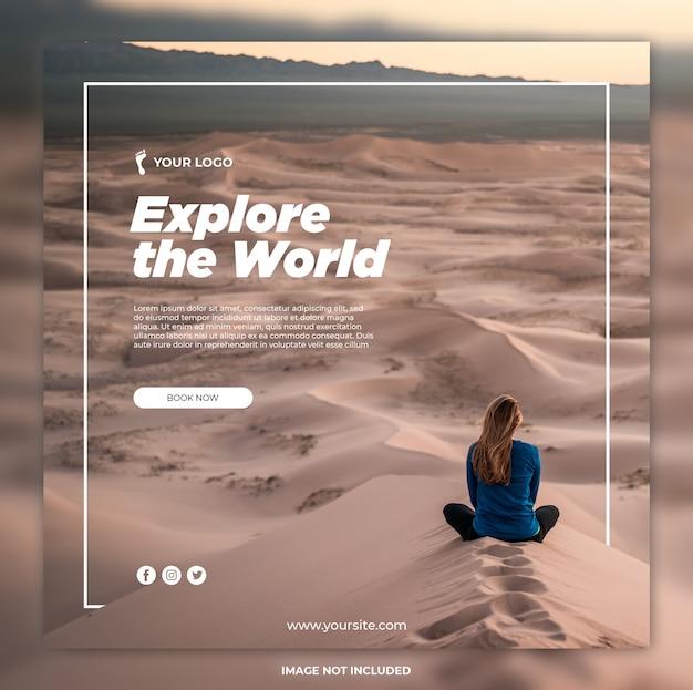 Reizen banner avontuur tours instagram post of vierkante sjabloon voor spandoek