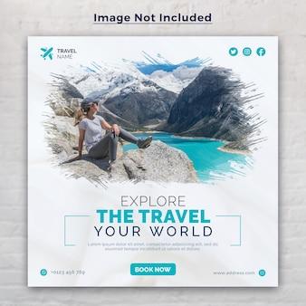 Reizen social media post banner sjabloon voor tour vakantie vakantie instagram post vierkante banner