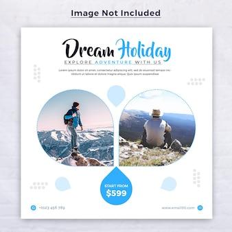 Reizen social media post-sjabloon voor spandoek voor tour vakantie vakantie instagram post vierkante flyer