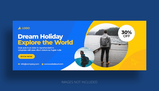 Reizen vakantie vakantie facebook tijdlijn voorbladsjabloon