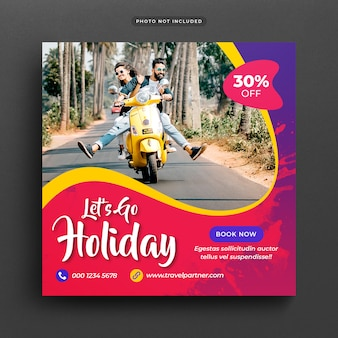 Reizen vakantie vakantie post banner of sjabloon